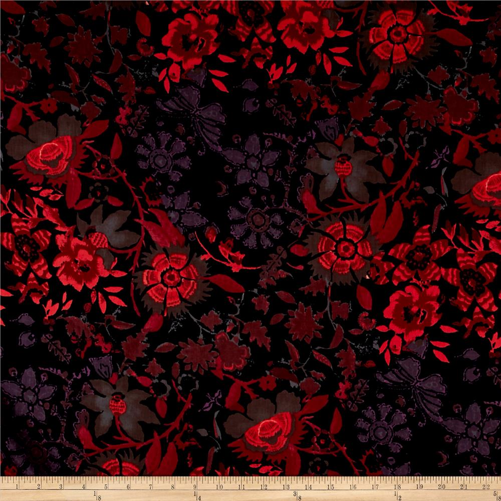 French Designer Cotton Sateen Floral Pink/Black Fabric