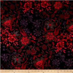 French Designer Cotton Sateen Floral Pink/Black