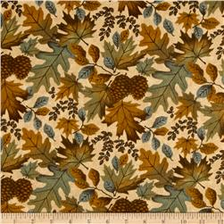 Moda Fall Impressions Flannel Large Leaf Sesame