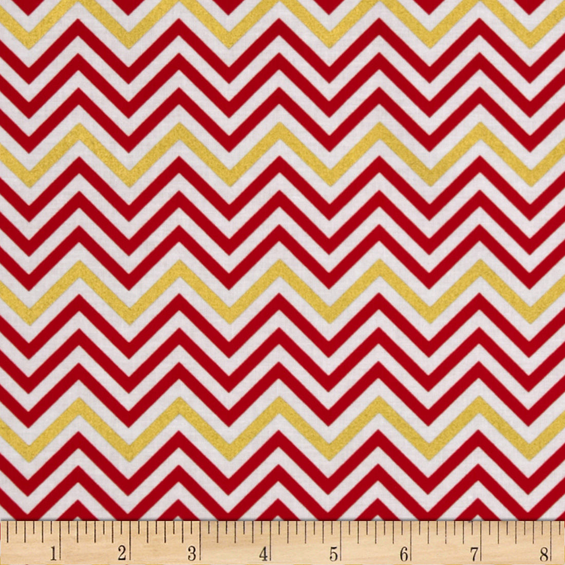 Remix Metallic Small Chevron Flame Fabric
