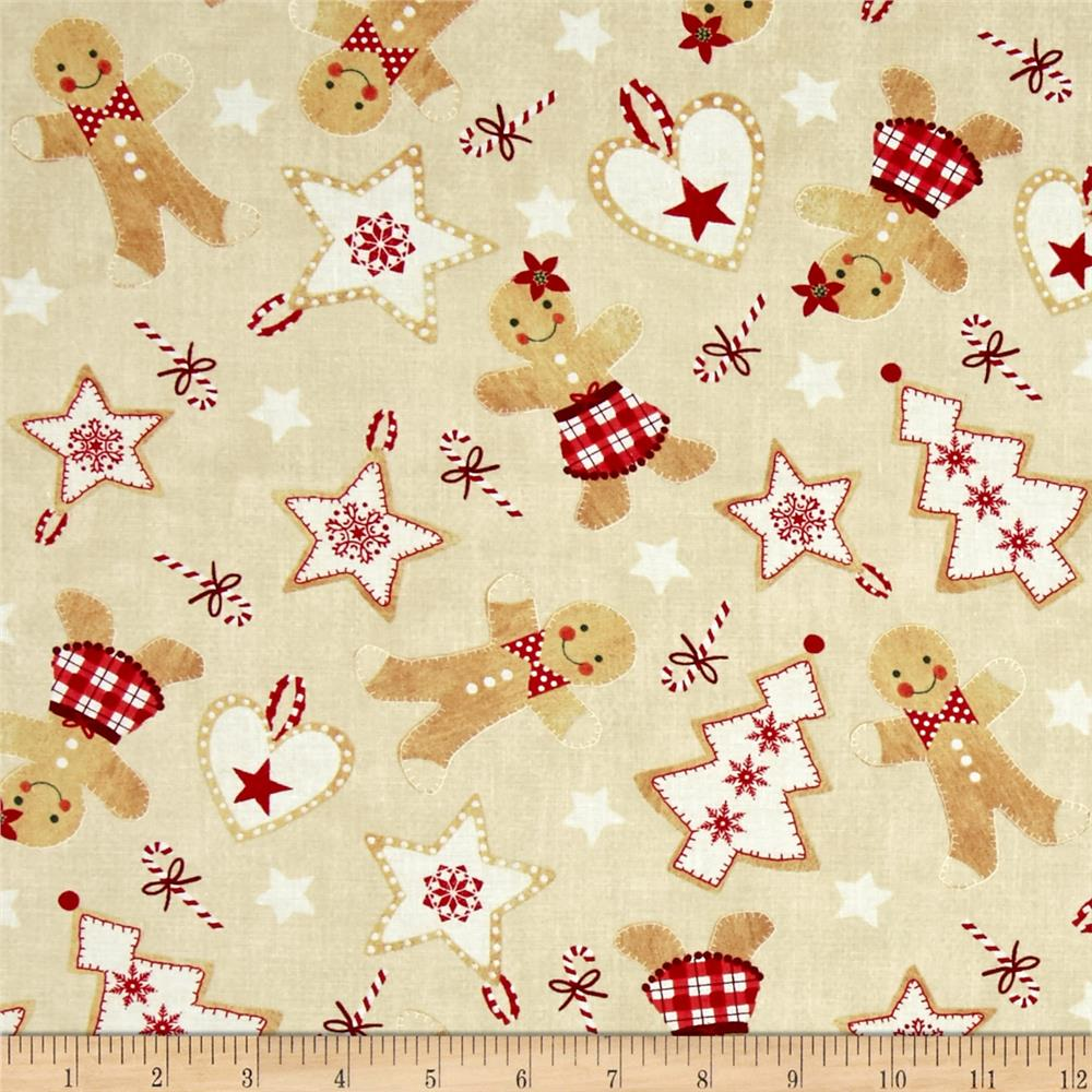 Timeless Treasures Jolly Gingerbread Ornaments Tan