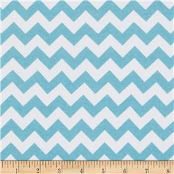Riley Blake Cotton Jersey Knit Chevron Small Aqua