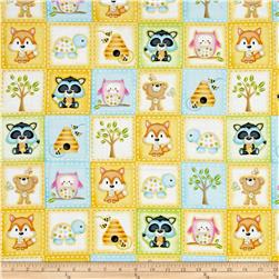 Woodland Cuties Woodland Animals In Squares Yellow/Multi