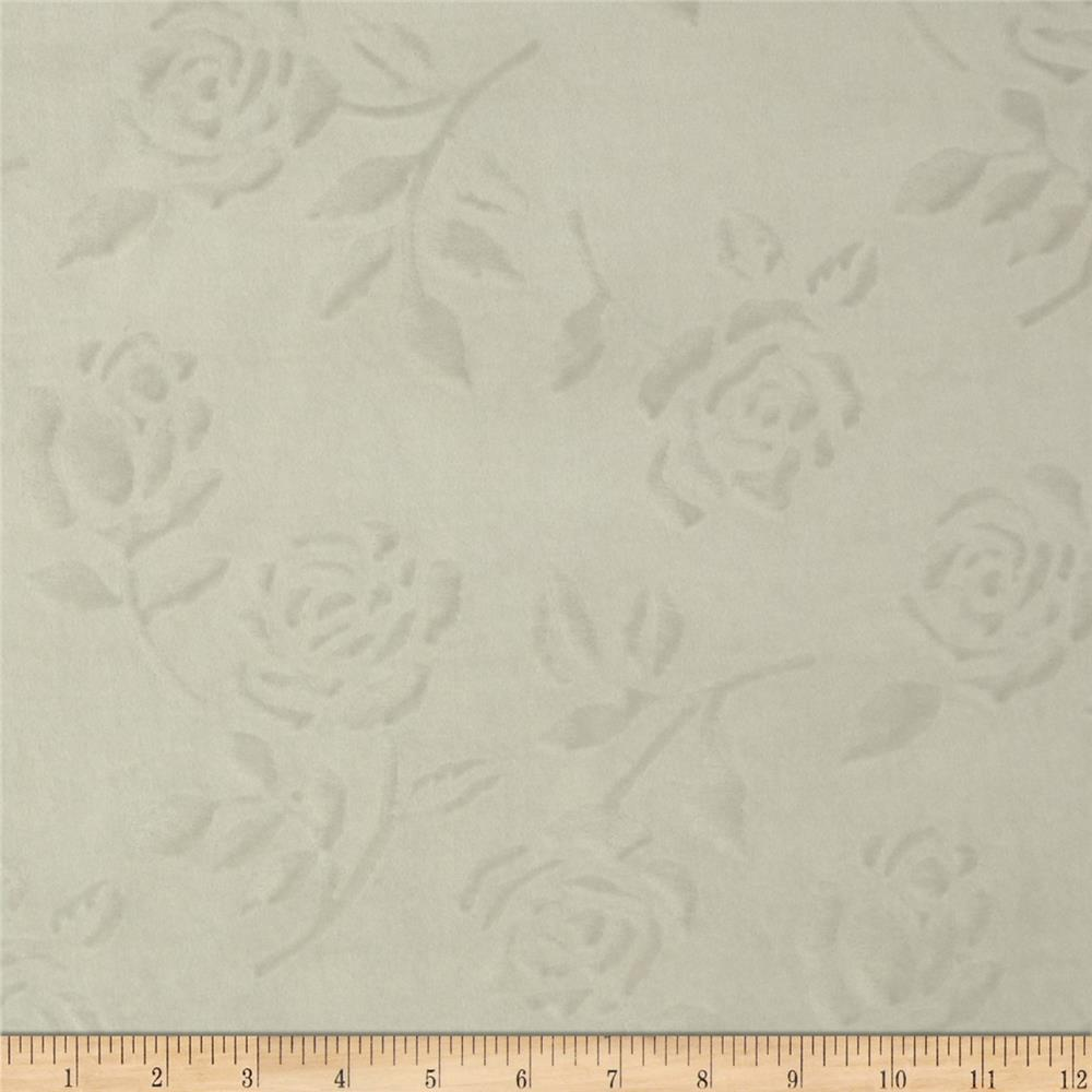 Embossed Velour Roses White