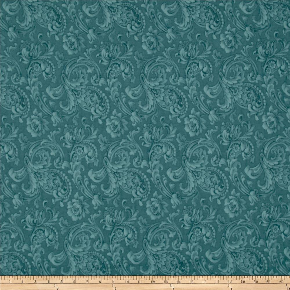 "108"" Wide Back Floral Dusty Blue"