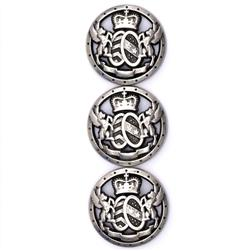 Fashion Button 3/4'' Royal Shield Silver