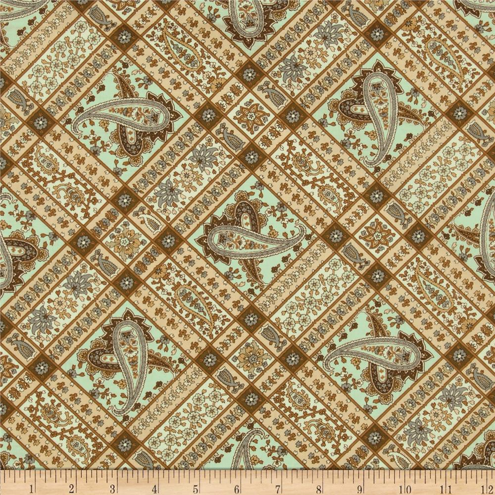 Berkley Square Paisley Squares Pale Blue