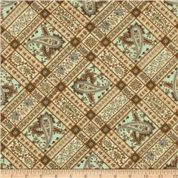 Berkley Square Paisley Squares Pale Blue Fabric