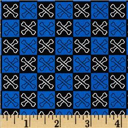 Dead Man's Cove Crossbones Check Blue Fabric