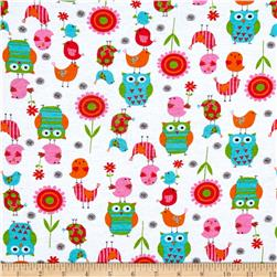 Cotton Jersey Knit Owls and Birds Multi