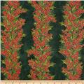 Winter Berries Metallic Holly Stripe Hunter/Gold