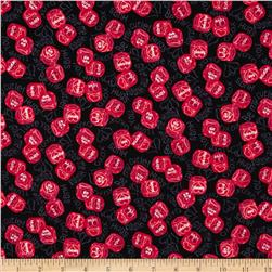 Love's All Around Heart Dice Black Fabric