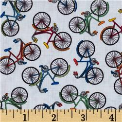 Timeless Treasures Back Bicycles White