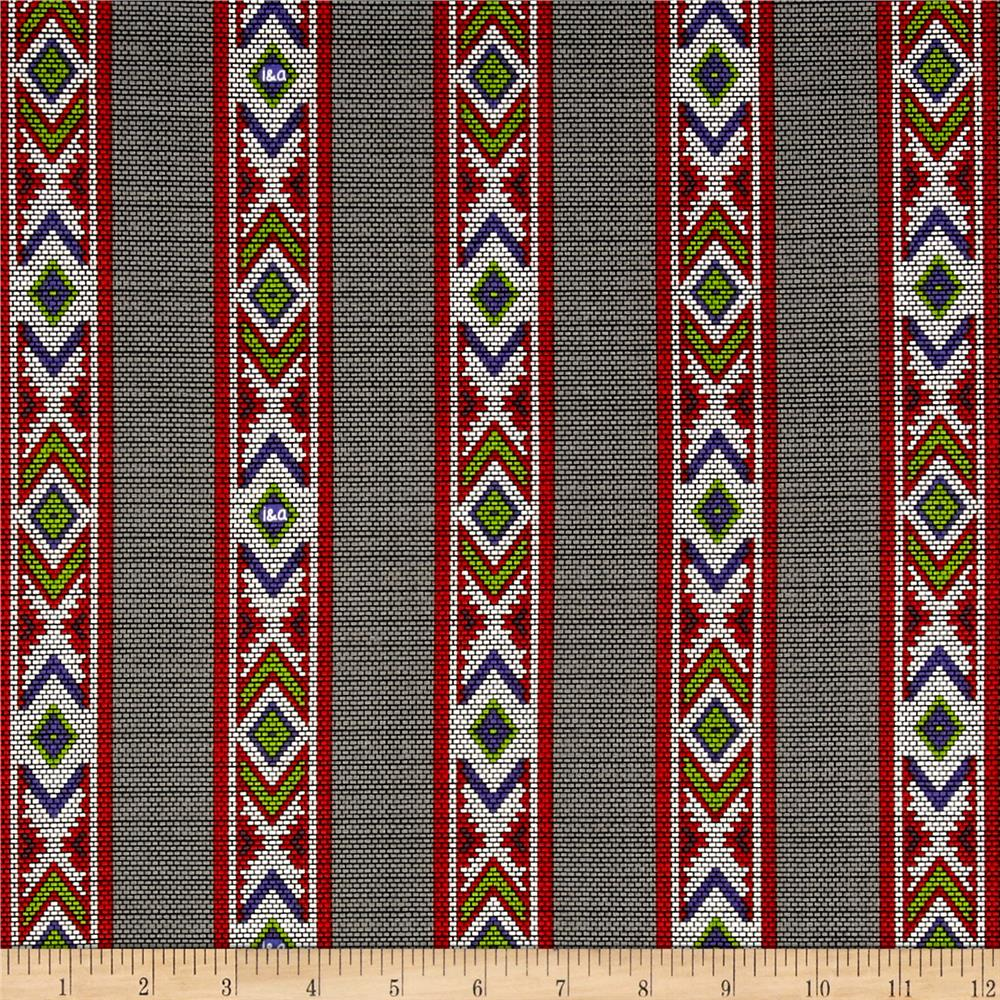 Ink & Arrow Indian Paintbrush Indian Blanket Stripe Dark Gray Fabric
