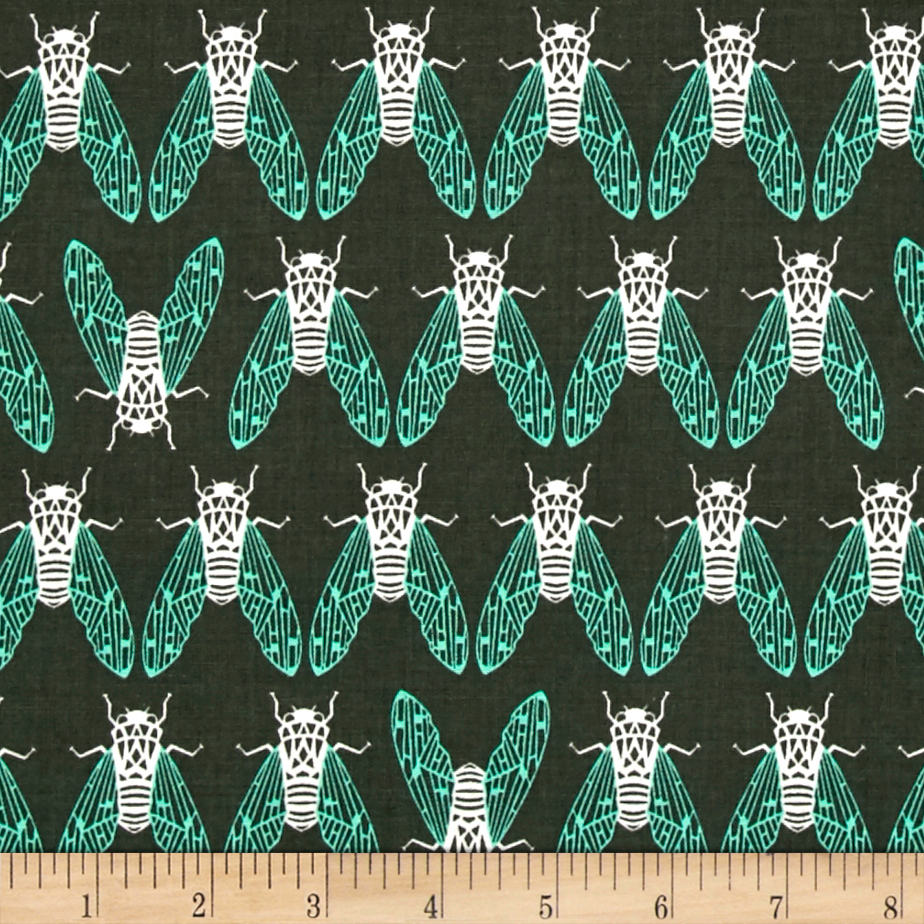 Cotton + Steel Raindrop Cicada Song Forest Fabric by Cotton & Steel in USA