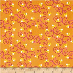 Dots Right Scroll Dots Orange Fabric