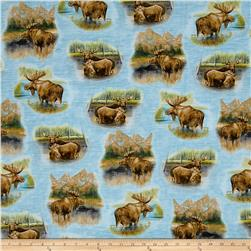 By Water's Edge Moose Vignettes Blue