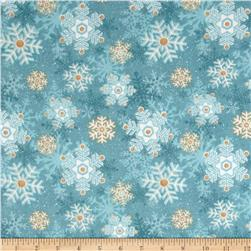 I Still Love Snow Flannel Snowflakes Blue