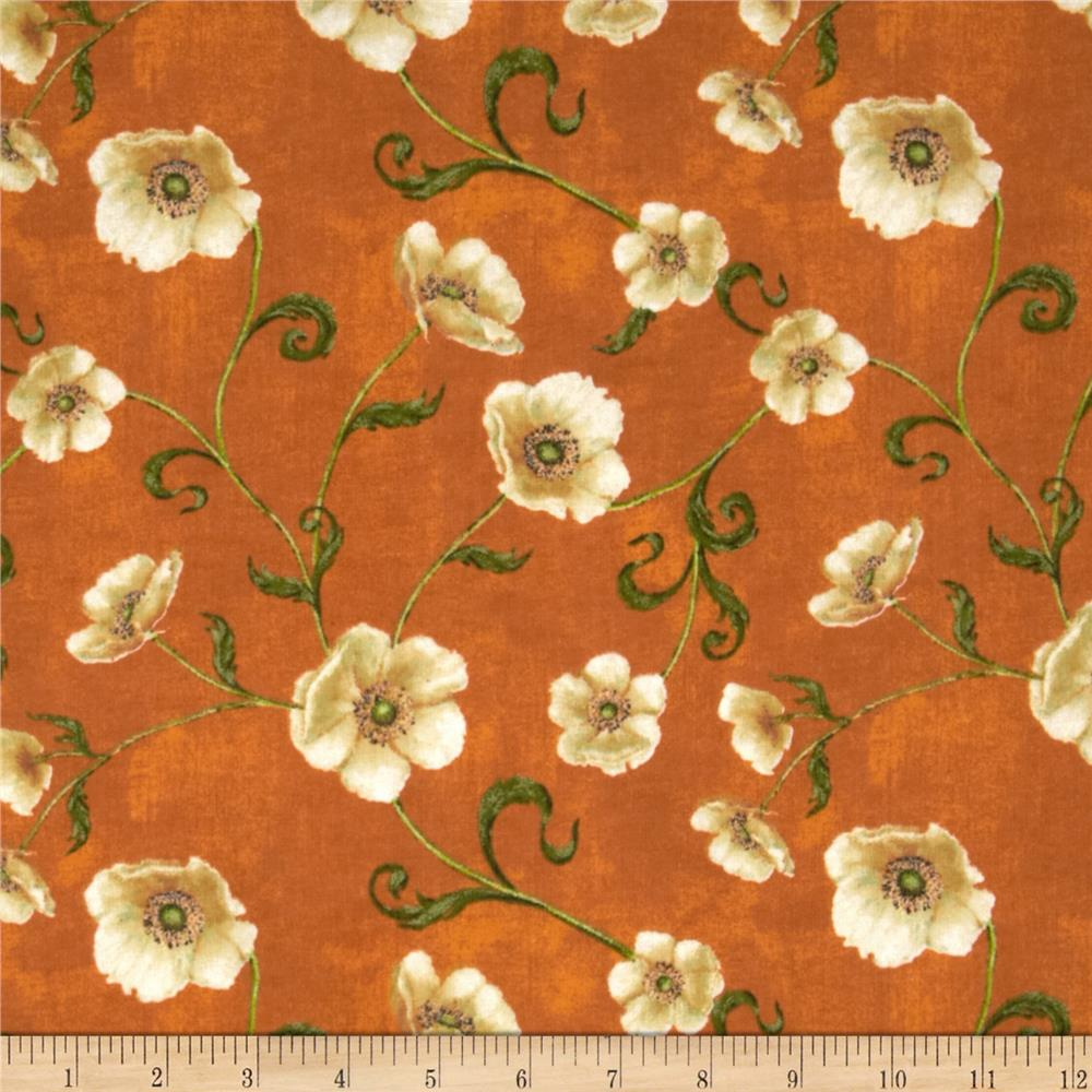 Windflower Flannel Poppies Orange