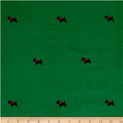 Kaufman Embroidered Corduroy 21 Wale Scotties Kelly