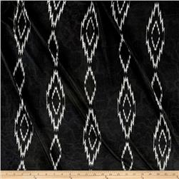 Printed Tricot Knit Aztec Diamond Black/Silver