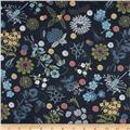 Isso Ecco & Heart Cotton Lawn Botanical Navy