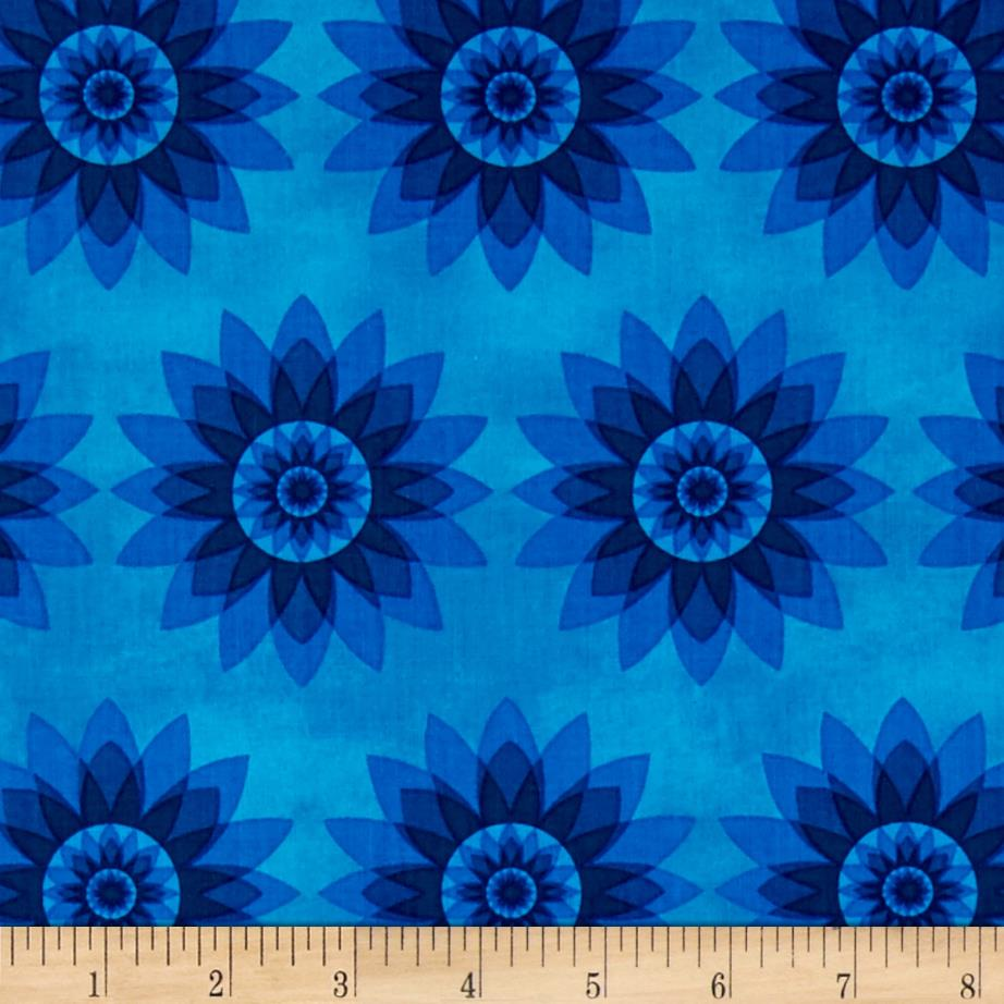 Calypso Allover Flowers Turquoise