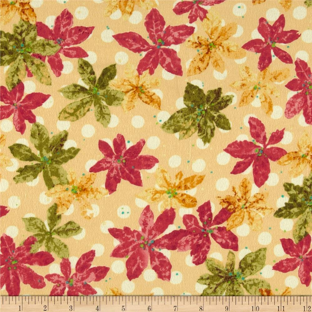 Nancy's Holiday Favorites Flannel Poinsettias Golden