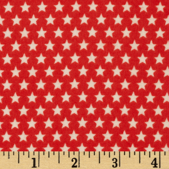 Riley Blake Rocket Age Flannel Stars Red