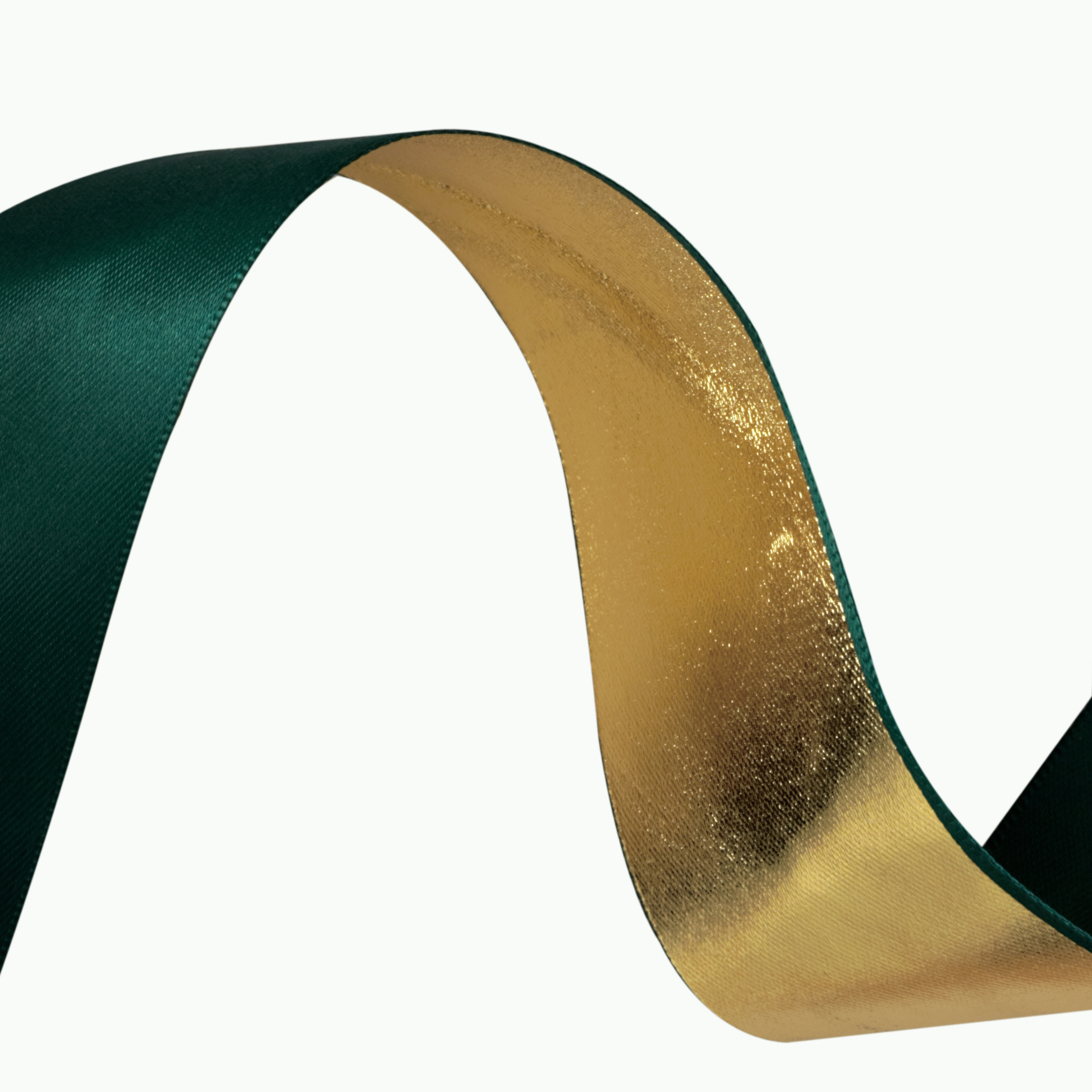 1 1/2'' Reversible Satin Ribbon Metallic Gold/Green