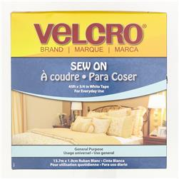 "Velcro Sew On Tape Roll  3/4"" x 15 Yds. White"