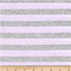 Yarn Dyed Tissue Jersey Knit Stripes Violet White/Ash Gray