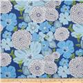 Kaufman Lennox Gardens Cotton Lawn Large Floral Blue