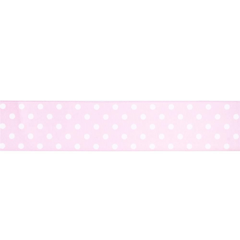 "May Arts 1 1/2"" Grosgrain Dots Ribbon Spool Pink/White"