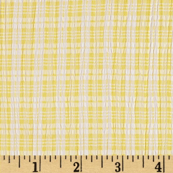 Designer Plisse Shirting Plaid Yellow