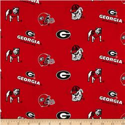 Collegiate Cotton Broadcloth University of Georgia Red Fabric