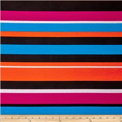 Stretch Jersey Knit Spendid Stripe Orange/Fuchsia