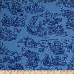 110'' Wide Quilt Back Mighty Movers Blue