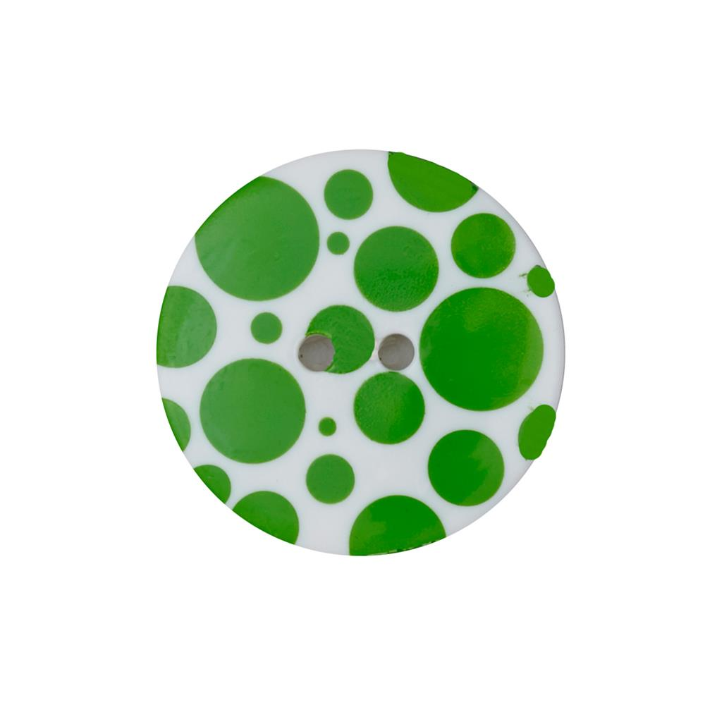 "Dill Novelty Button 3/8"" Lime Dot on White"
