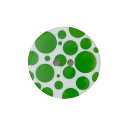 Dill Novelty Button 3/8'' Lime Dot on White