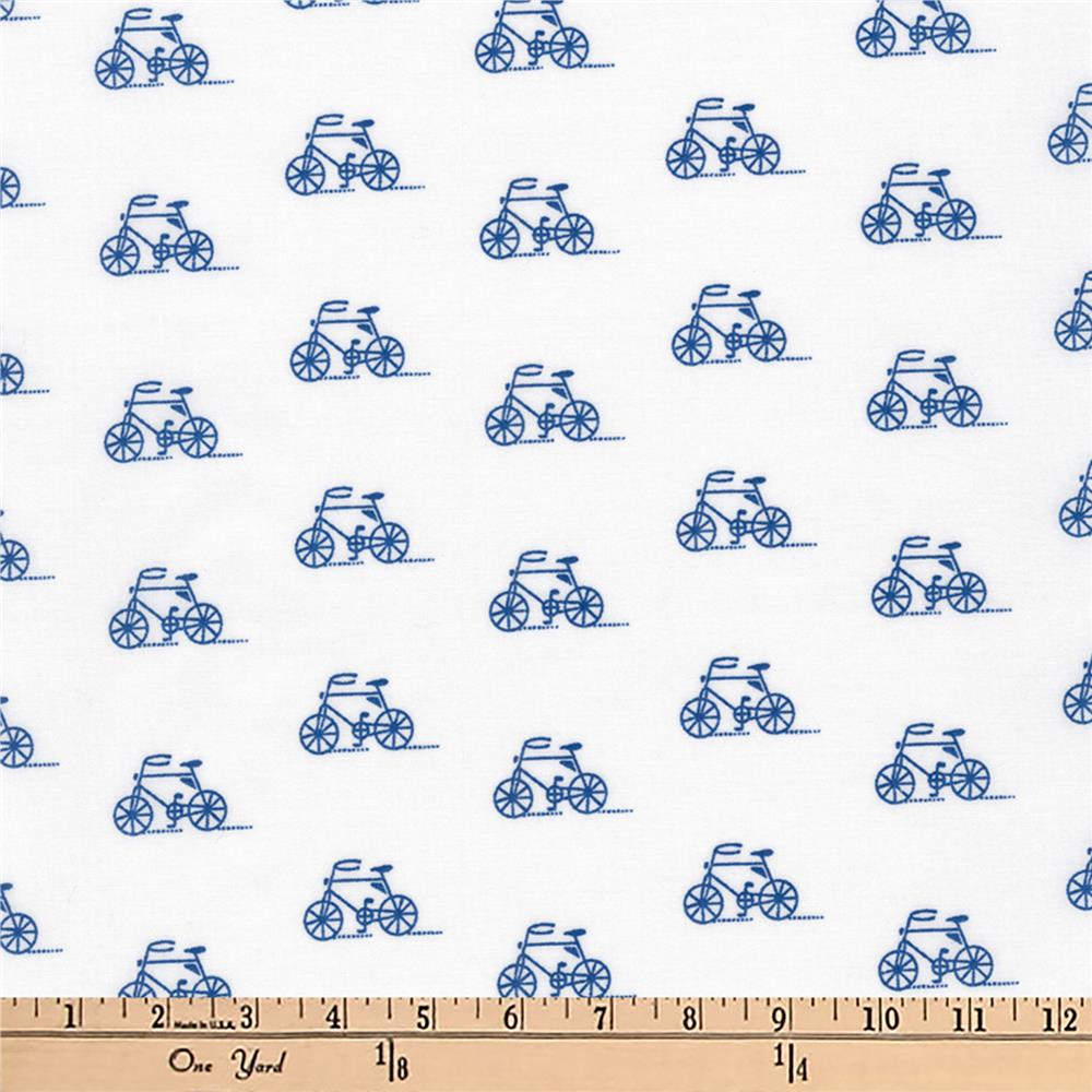 Kaufman London Calling Slicker Laminated Cotton Lawn Bikes Blue Fabric