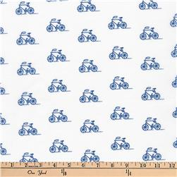 Kaufman London Calling Slicker Laminated Cotton Lawn Bikes Blue