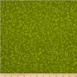 Jazz Jam Small Music Note Tonal Green Fabric
