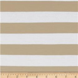 Stretch Jersey Knit Yarn Dye Stripes Khaki/White