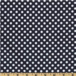 Flannel Polka Dots Navy Fabric