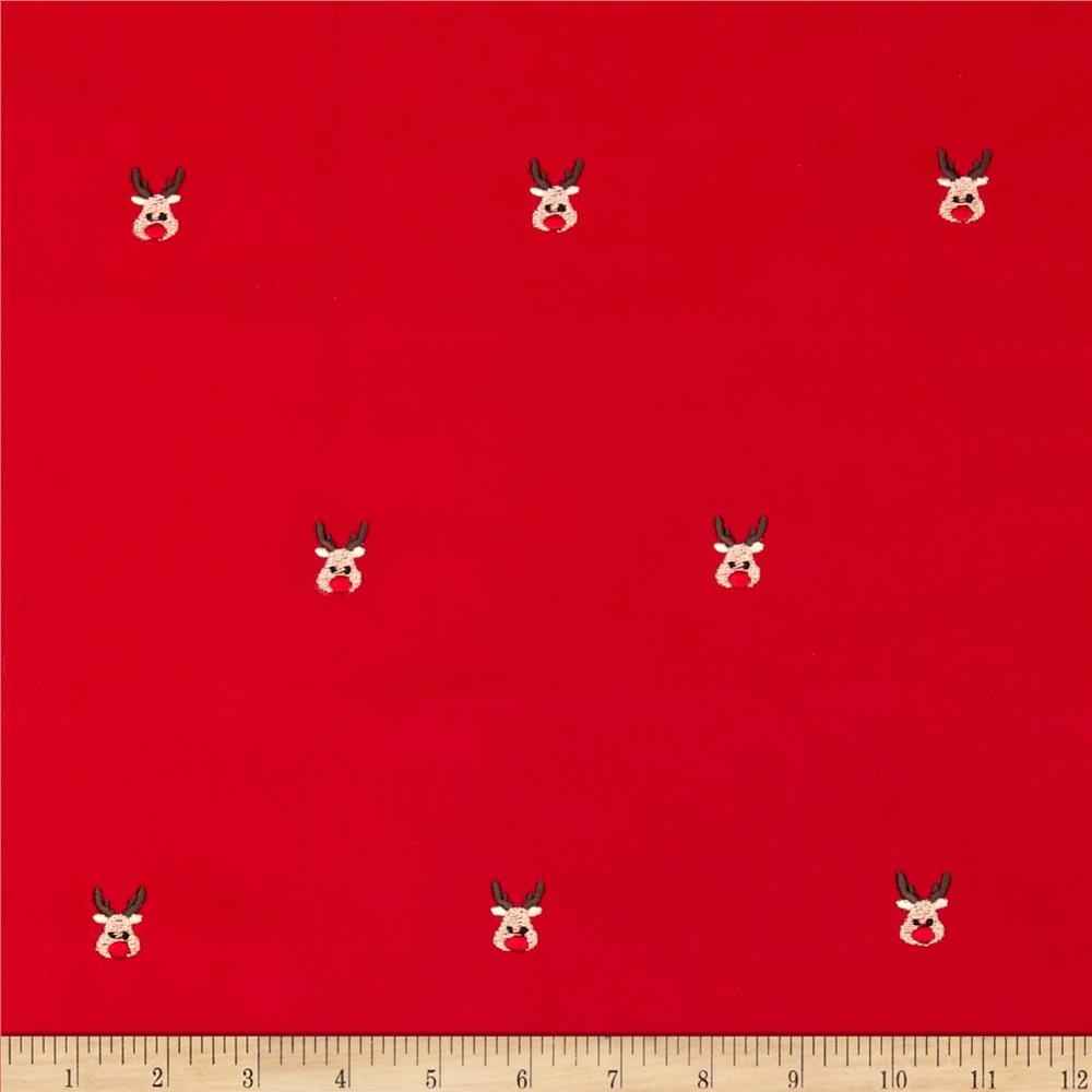 Embroidered 21 Wale Corduroy Red Nose Reindeer Red/Brown