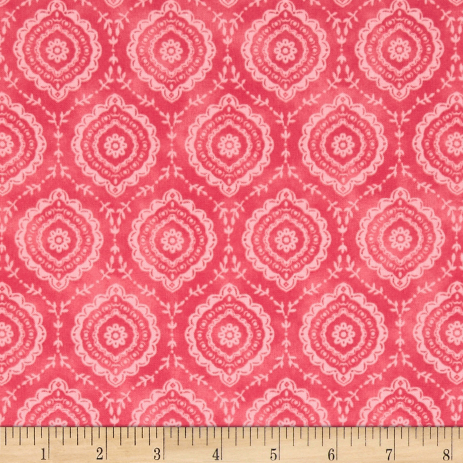 Timeless Treasures Emma Medallion Geo Melon Fabric