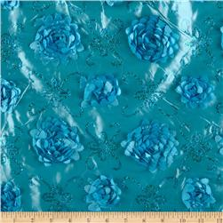 Stunning Sequined Rosette Satin Turquoise
