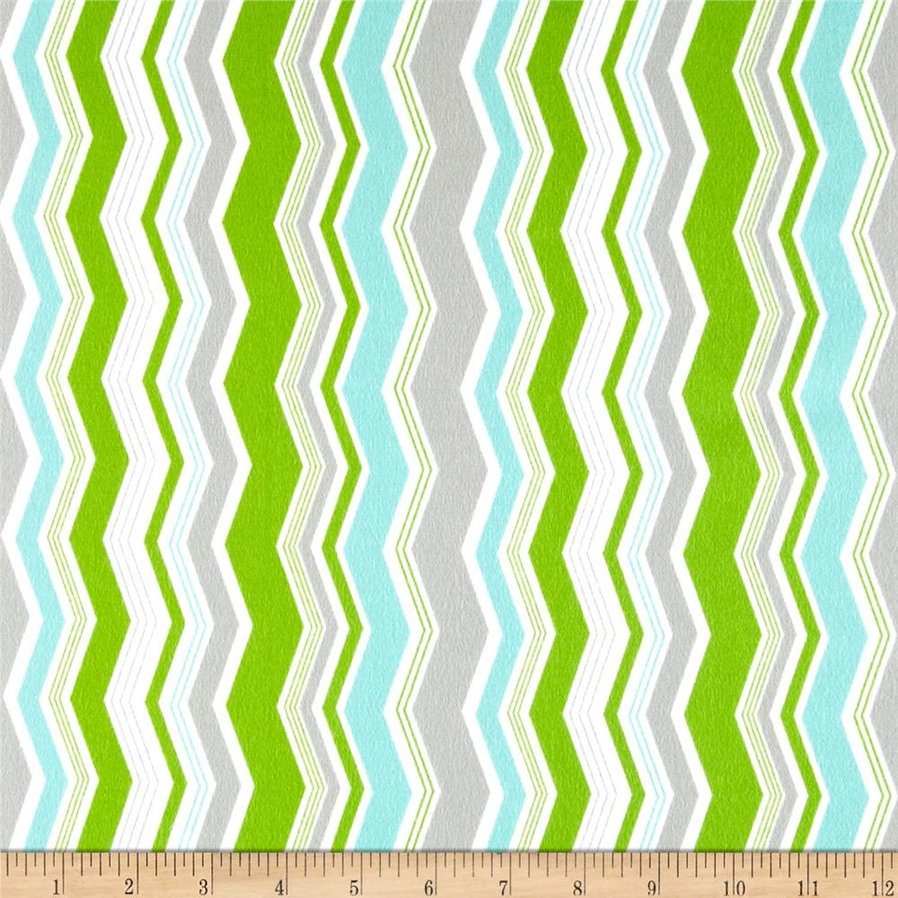 Riley Blake Little Ark Flannel Chevron Green