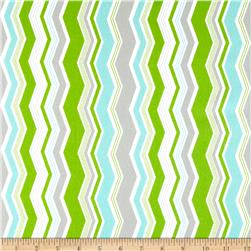 Riley Blake Little Ark Flannel Chevron Green Fabric